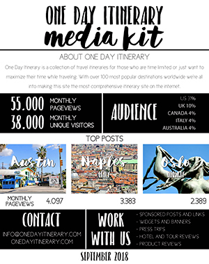 One Day Itinerary Media Kit 2018 Travel Blog